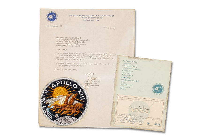 FLOWN ON APOLLO 13 EMLBELM CREW MISSION PATCH WITH LOVELL LOA & LAUNCH INVITATION