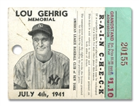 JULY 4, 1941 LOU GEHRIG MEMORIAL DAY TICKET STUB (AL TAPPER COLLECTION)