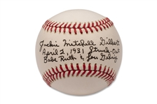 JACKIE MITCHELL GILBERT SIGNED AND INSCRIBED BASEBALL (STRUCK OUT BABE RUTH & LOU GEHRIG IN 1931 WHEN SHE WAS ONLY 17 YEARS OLD) (AL TAPPER COLLECTION) - PSA/DNA LOA