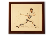 EXQUISITE 1967 LEROY NEIMAN ORIGINAL ARTWORK OF MICKEY MANTLE (AL TAPPER COLLECTION)