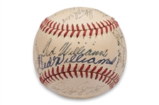 1950 RED SOX TEAM SIGNED OAL BASEBALL WITH (2) WILLIAMS AUTOGRAPHS ON THE SWEET SPOT (AL TAPPER COLLECTION) - BECKETT LOA