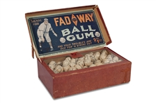 "CIRCA 1915-1920 CHRISTY MATHEWSON AMERICAN CHICLE COMPANY ""FADEAWAY"" BALL GUM DISPLAY BOX INCLUDES ORIGINAL GUM BALLS (AL TAPPER COLLECTION)"