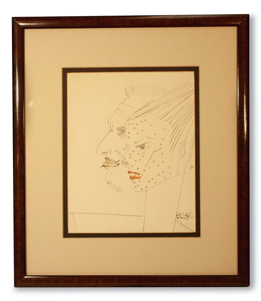 UNIQUE CIRCA 1960 KATHARINE HEPBURN SELF PORTRAIT WITH SPENCER TRACY - WATER COLOR AND INK ON PAPER ORIGINAL ARTWORK (AL TAPPER COLLECTION)
