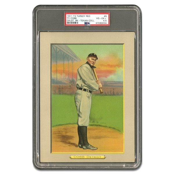 1911 T3 TURKEY RED TY COBB (CHECKLIST BACK) - PSA VG-EX+ 4.5