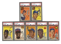 1954 TOPPS BASEBALL COMPLETE SET OF (250) WITH PSA GRADED #128 AARON - PSA EX 5  & #94 BANKS - PSA VG-EX 4