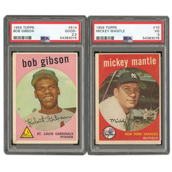 1959 TOPPS BASEBALL COMPLETE SET OF (572) WITH PSA GRADED #10 MICKEY MANTLE PSA VG 3 & #514 BOB GIBSON GD+ 2.5