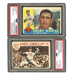 "SHARP SANDY KOUFAX COMBO OF 1960 TOPPS #343 AND 1964 TOPPS #136 WORLD SERIES ""KOUFAX STRIKES OUT 15"" VINTAGE BALLPOINT AUTOGRAPHED CARDS (JACK ZIMMERMAN COLLECTION) - PSA/DNA"