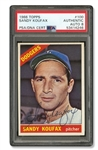 PRISTINE SIGNED 1966 TOPPS #100 SANDY KOUFAX - KOUFAX FINAL SEASON CARD (JACK ZIMMERMAN COLLECTION) - PSA/DNA 8
