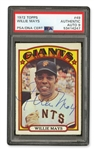 SPECIAL 1972 TOPPS #49 WILLIE MAYS AUTOGRAPHED BASEBALL CARD - MAYS LAST CARD AS A GIANT (JACK ZIMMERMAN COLLECTION) - PSA/DNA AUTHENTIC AUTO 9