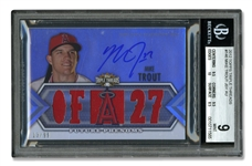 2012 TOPPS TRIPLE THREADS #146 MIKE TROUT JERSEY AUTO. - BGS MINT 9, AUTO. 10