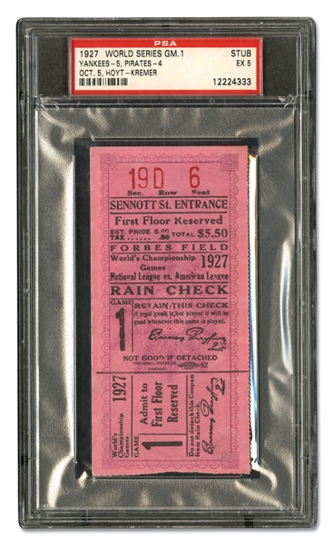 OCTOBER 5, 1927 WORLD SERIES GAME 1 TICKET STUB (NEW YORK YANKEES AT PITTSBURGH PIRATES) - PSA EX 5