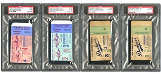 1956 WORLD SERIES YANKEES VS. DODGERS COLLECTION OF TICKETS AND SIGNED PROGRAM - DON LARSENS PERFECT GAME! - PSA/DNA LOA AND ALL TICKETS PSA ENCAPSULATED