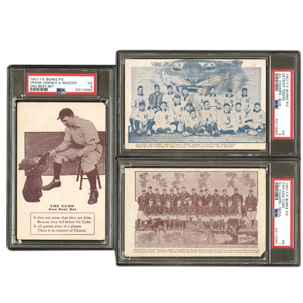 GROUP OF (3) 1907 BURKE POSTCARDS OF CUBS TEAM, TIGERS TEAM, FRANK CHANCE - ALL PSA GRADED
