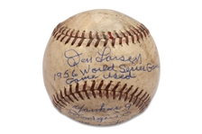 1956 WORLD SERIES GAME 7 GAME USED ONL (GILES) BALL - JACKIE ROBINSONS LAST GAME WITH DON LARSEN - DON LARSEN LOA