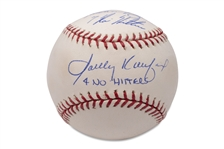 SANDY KOUFAX AND NOLAN RYAN (NO-HIT KINGS) DUAL-SIGNED AND INSCRIBED OML (SELIG) BASEBALL - PSA/DNA
