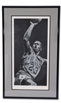 "LARGE BEAUTIFULLY AUTOGRAPHED 24""X44"" MICHAEL JORDAN FINE ART SERIGRAPH BY STEPHEN HOLLAND - HORS COMMERCE (8/20) - BECKETT LOA"
