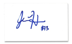 "NBA SUPERSTAR JAMES HARDEN EARLY AUTOGRAPHED 3"" X 5"" INDEX CARD - COLLEGE/ROOKIE ERA SIGNATURE (TIM GALLAGHER COLLECTION) - BECKETT 9 AUTO"
