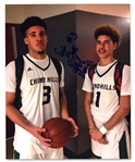 "HIGH SCHOOL ERA LAMELO BALL AND LIANGELO BALL DUAL-SIGNED CHINO HILLS 8"" X 10"" PHOTO (TIM GALLAGHER COLLECTION) - BECKETT 10 AUTO"