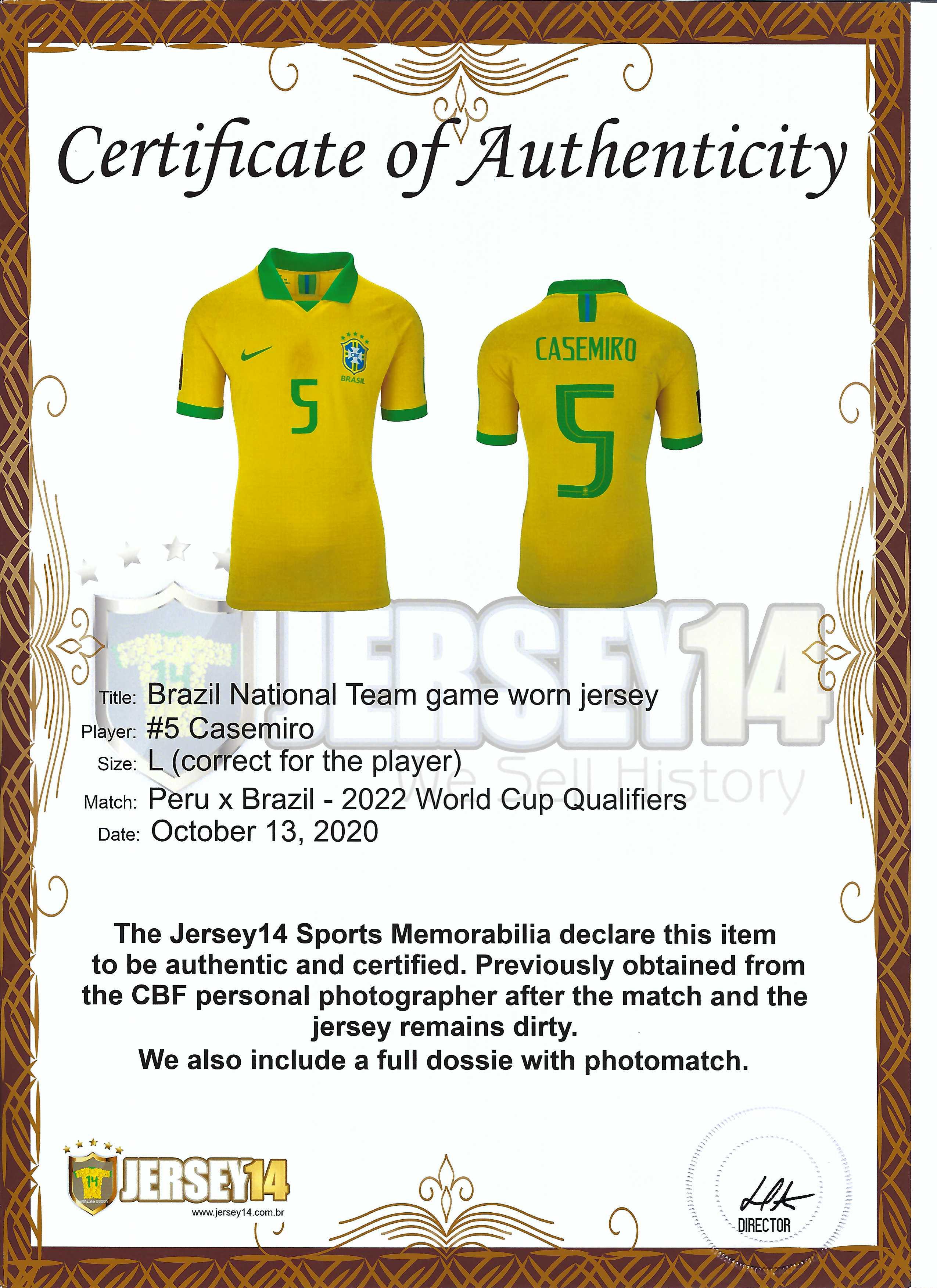 Lot Detail - OCTOBER 13, 2020 CASEMIRO BRAZIL NATIONAL TEAM MATCH ...