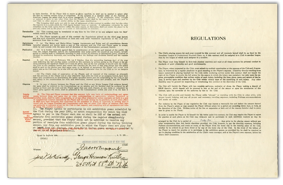 1933 BABE RUTH SIGNED NEW YORK YANKEES PLAYERS CONTRACT - PSA/DNA & BECKETT