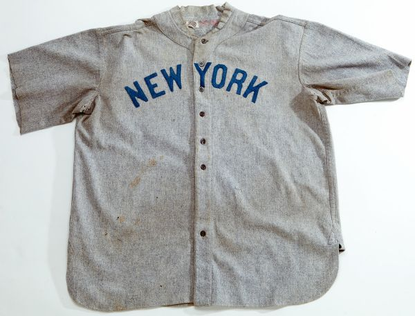 C.1920 BABE RUTH NEW YORK YANKEES GAME WORN ROAD JERSEY - EARLIEST KNOWN BABE RUTH JERSEY EXTANT (MEARS A8)